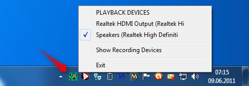 Windows 7 Features System Tray Audio Device Switcher