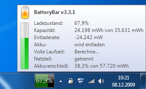 Windows 7 Features BatteryBar
