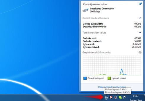 Windows 7 Features Taskbar Network Activity Indicator