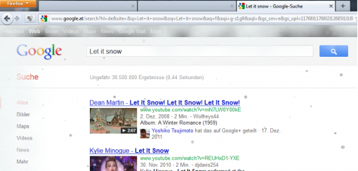 Google Eastereggs Let it snow