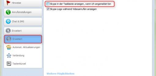 Skype Symbol aus der Taskleiste entfernen 2